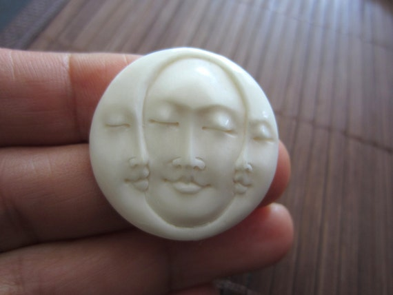 Gorgeous Hand Carved Three Face Cabochon with closed Eye, Bone Component, Cabochon for Setting B3733