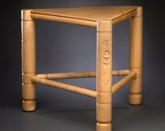 Medieval 3-legged Wooden Stool with Carvings