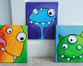colorful little monster and alien paintings