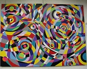 Raindrops 4 large size abstract modern geometric painting in acrylics on canvas