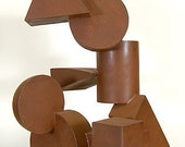 Brownie Points - freestanding abstract modern metal sculpture with rusty patina