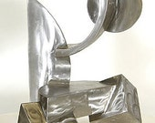 Moonrise - abstract modern geometric sculpture in polished stainless steel