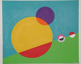 Circles - Modern colorful abstract geometric painting of circles