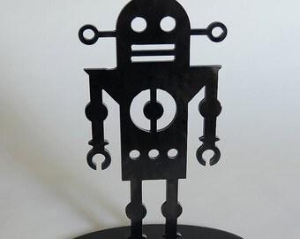 Robot 3 - modern table top robot sculpture in steel