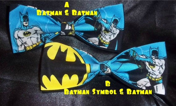 BowTies Made From Batman Fabric - These Cool Ties Have A Great Retro Feel - Choose From 3 Attractive Bow Ties - U.S. SHIPPING ALWAYS 1.99