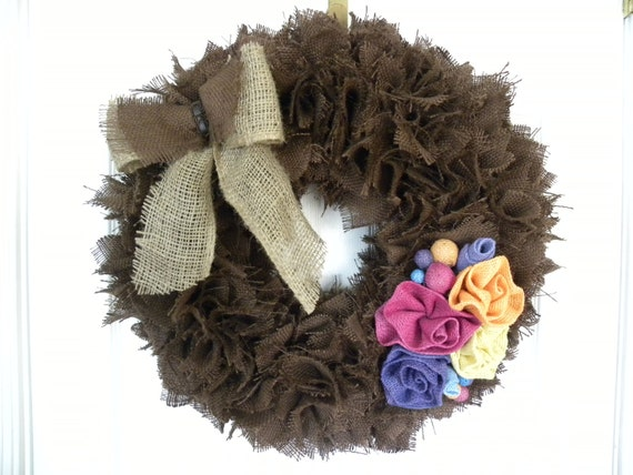 Chocolate Burlap Wreath with Colorful Roses