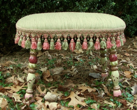 Showroom Sale: 295.00-was-250.00  **NOW 165.00** Stool - Green-Pink Fringed