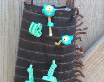 Fringed Upcycled Felted Wool Sling Robot Bag, Necklace Strap