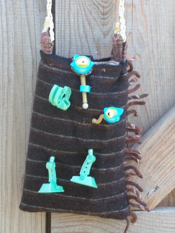 Fringed Upcycled Felted Wool Sling Robot Bag, Necklace Strap