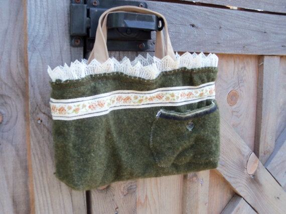 Olive Green Felted Wool Upcycled Handbag Purse
