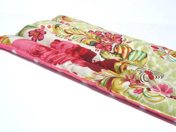 Natural Herbal Heating Pad, microwave heat pads, Lavender and Chamomile Aromatherapy, mint Green and Pink Paris Print