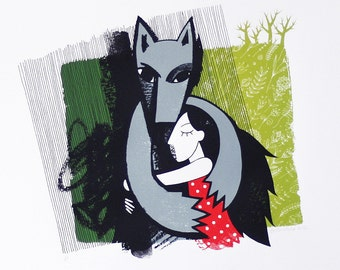 Little Red Riding Hood and the Wolf - Original handmade screenprint - Limited edition