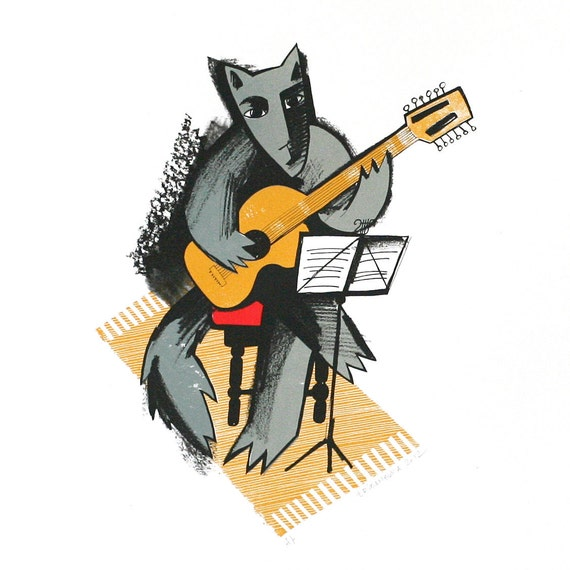 50 Ways to Leave Your Lover (Wolf playing guitar) - Original screenprint - Limited edition - 50 x 50 cm