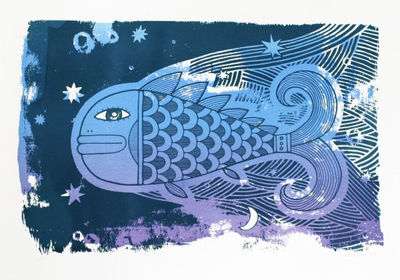 Feel Flows - Blue - Fish in the sea - Original screenprint - 50x70 cm - Water based ink - Limited edition
