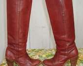 RESERVED Vintage FRYE Boots Tall Leather 70's Campus Boots  Size 6.5
