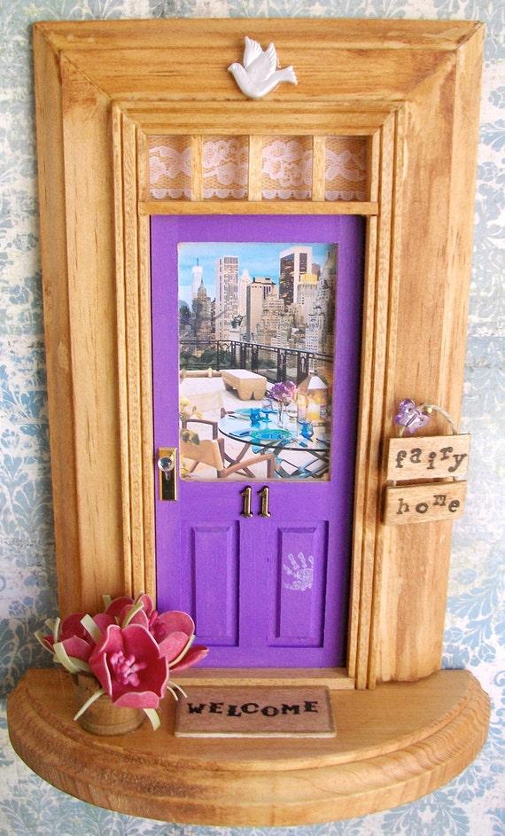Fairy Door - Purple Door - New York City Skyline View