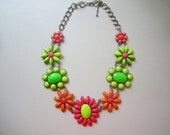 Neon Flower Power (Part Two) Handpainted Rhinestone Necklace