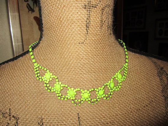 Neon Pop Handpainted Rhinestone Necklace