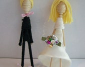 Cake Topper Couple-Custom Personalized-Pick your Pair-custom hair style dress suit bow tie you design it