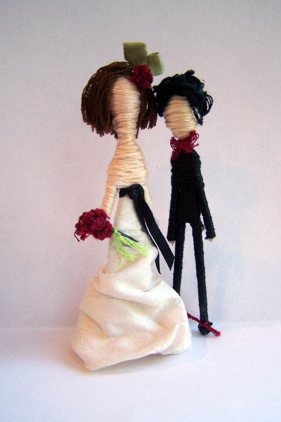 Cake Topper Couple-Custom Personalized-Pick your Pair-customize hair dress bowtie flowers