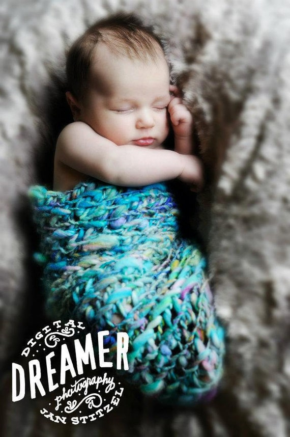 Hand Crochet, Baby Photography Newborn Prop Pouch/Cocoon and Hat in Turquoise, handspun, hand dyed soft bulky yarn