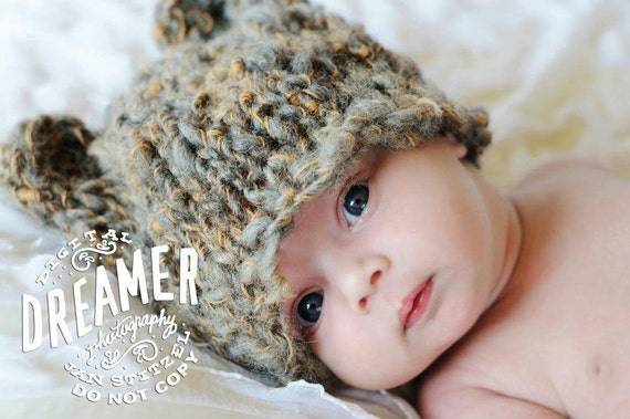 OOAK Hand Knit Baby Bear Hat in Browns, hand dyed and handspun yarns, up to 3 months