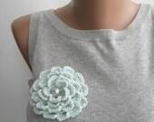 Light blue crochet flower brooch