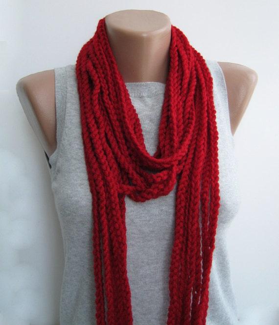 Bright red crochet chain scarf,cowl,neckwarmer