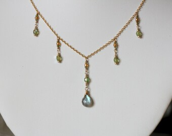 Labradorite Dainty Drop Necklace Celery Green Blue Grey Gray Victorian Edwardian Romantic Gift