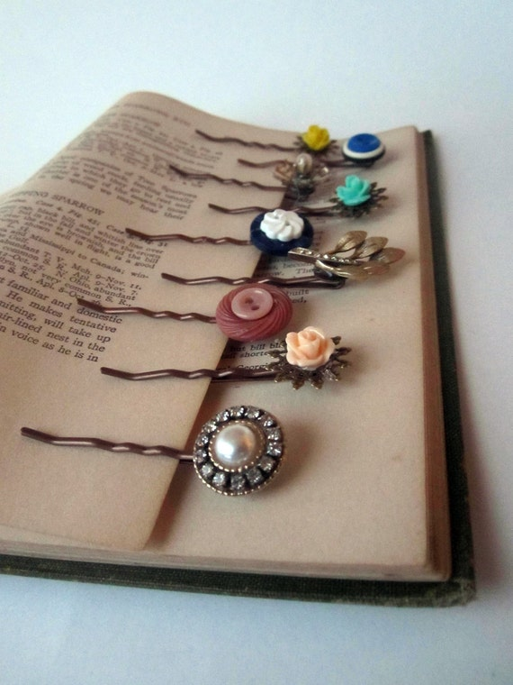 Bobby Pin set (3) -antique buttons, vintage jewelry, cabochon -- choose your own set