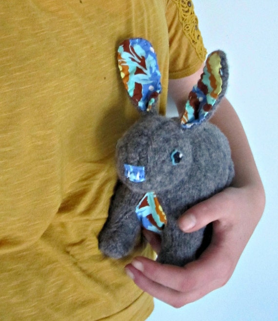 RESERVED FOR MEGAN Joey the Bunny Rabbit - Plushie from felted wool sweaters and designer Amy Butler fabric