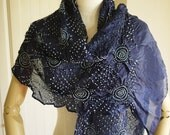 Midnight blue shibori style scarf