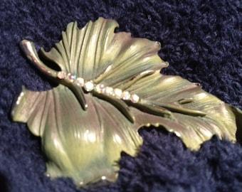 Vintage Leaf Brooch with Rhinestone Center stem.