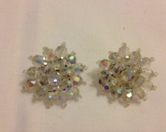 Vintage Clear Crystal Bead Clip Earrings