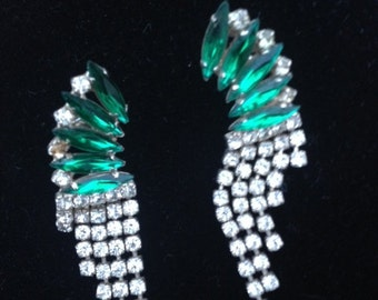 Elegant Vintage Green & Clear Rhinestone Earrings