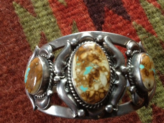 Stunning & Substantial Boulder Turquoise and Sterling Silver Cuff by L. James