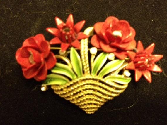Vintage Red Flower Basket Crown Trifari Brooch -Signed- Reserved for Kate