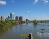 Richmond Virginia Landscape, River City Skyline on James River 8x10 Photo Art, Framed Photography Option