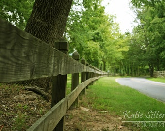 Country Road with a Rustic Wooden Fence, Virginia Landscape 8x10 Path Photo Art, Framed Option