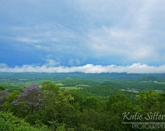 Blue Ridge Mountain Virginia Landscape View of the Valley and Sky, 8x10 Photo Art, Framed Option