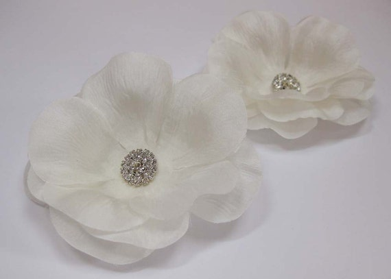 Ivory Silk Poppy Flower Bridal Hairpin with Rhinestone Wedding Hair Accessory