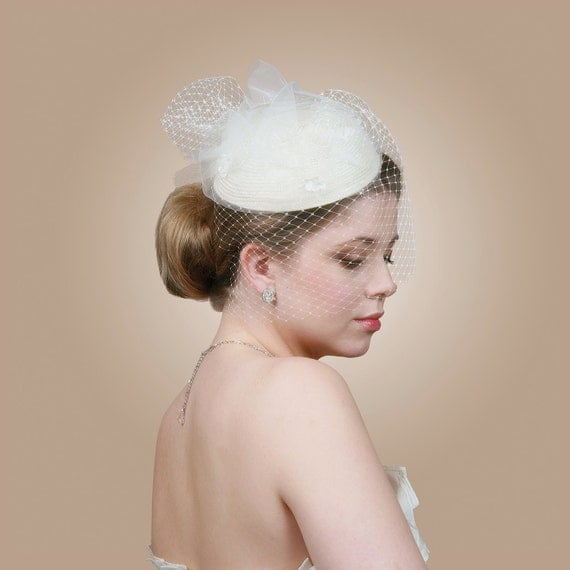 Prue Ivory Vintage Inspired Pillbox Bridal Hat with Birdcage Veil and Silk Flowers Wedding Accessory