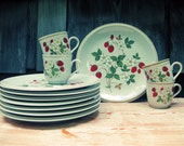 Vintage Strawberries and Cream Stoneware dinner set.