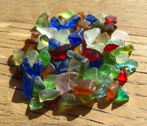 Sea Glass - Red, Purple, Blue, Lime Green, Aqua, Amber - Tiny Beach Glass Supplies - 0424-4