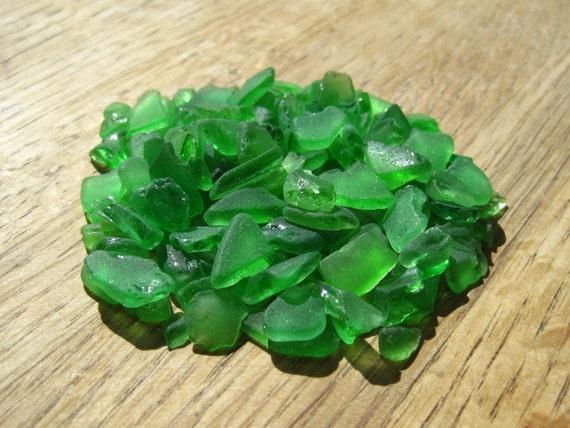 Genuine Sea Glass - Green Glass Bundle - Mosaic Tile, Art Supplies - 0506-05