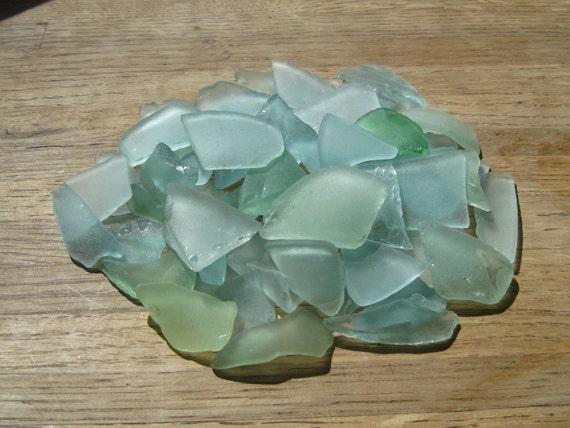 Bulk Sea Glass -  Pale Aqua, Sea Foam, Light Blue - Supplies - 50 Large Pieces - A06-46
