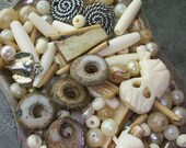 SALE Elephant Graveyard Mixed Lot of Vintage Bone and Clay and Pearl Beads Jewelry Designers Lot Sale