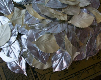 Aluminum Foil Silvered Leaf Vintage Paper Leaves