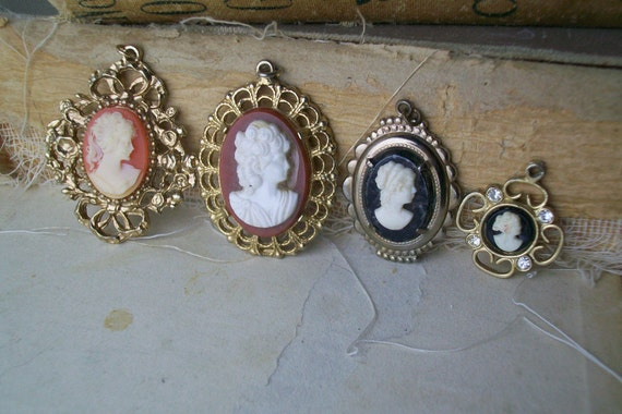 So In Love Four Vintage Victorian Style Cameo Pendants