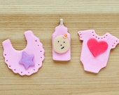Baby Girl fondant toppers
